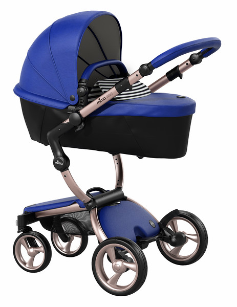 Mima_Xari_Product_Shot_Royal_Blue_Rose_Gold_Chassis_Black_And_White_Stripe_Carrycot.jpg