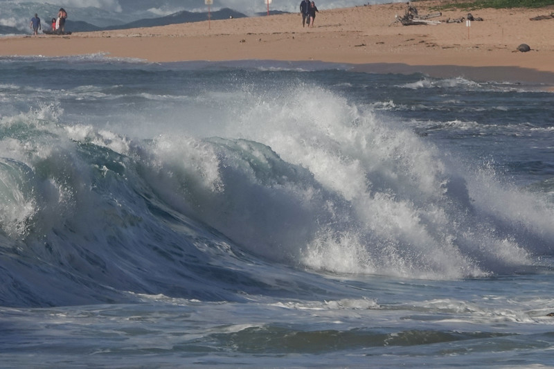 Rough waves come out in winter on the north shore of Kauai