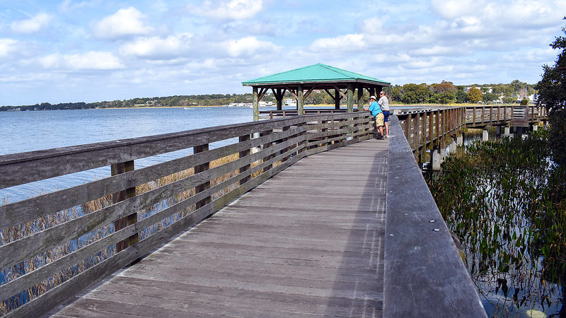 John and his friend Bob looking out over Lake Dora from the boardwalk
