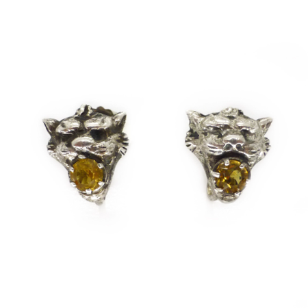Antique Edwardian Silver Lions Head Amber Paste Screw Back Earrings Sold Out