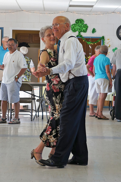 Wanda and Willie Moeller dancing at their 50th Wedding Anniversary celebration, Gila Mt. RV Park, Yuma, AZ. Mar. 10, 2012.