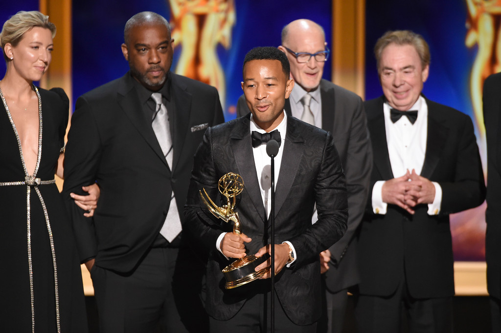 ". The team from ""Jesus Christ Superstar Live in Concert\"" accepts the award for outstanding variety special during night two of the Television Academy\'s 2018 Creative Arts Emmy Awards at the Microsoft Theater on Sunday, Sept. 9, 2018, in Los Angeles. (Photo by Phil McCarten/Invision/AP)"