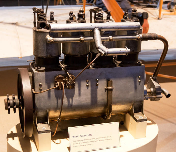 An engine from one of the first 1908 Wright Flyers