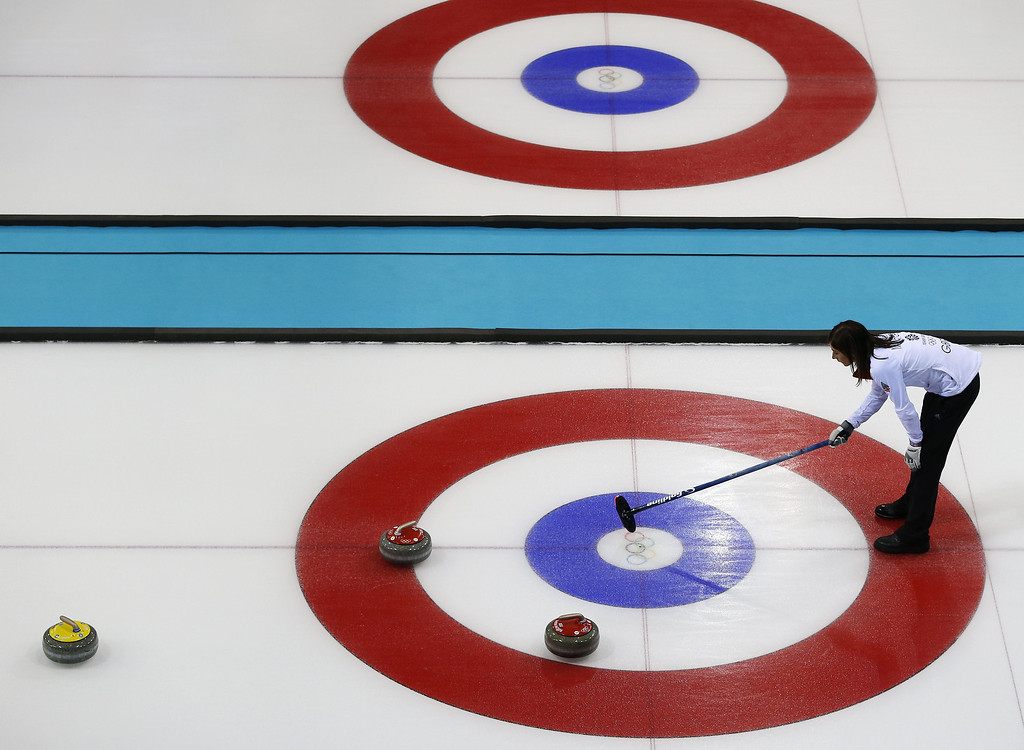 . Great Britain\'s Skip Eve Muirhead lines up a throw during the Women\'s Curling Round Robin Session 11 Russia vs Great Britain at the Ice Cube Curling Center during the Sochi Winter Olympics on February 17, 2014 in Sochi. Great Britain won the game 9-6. ADRIAN DENNIS/AFP/Getty Images