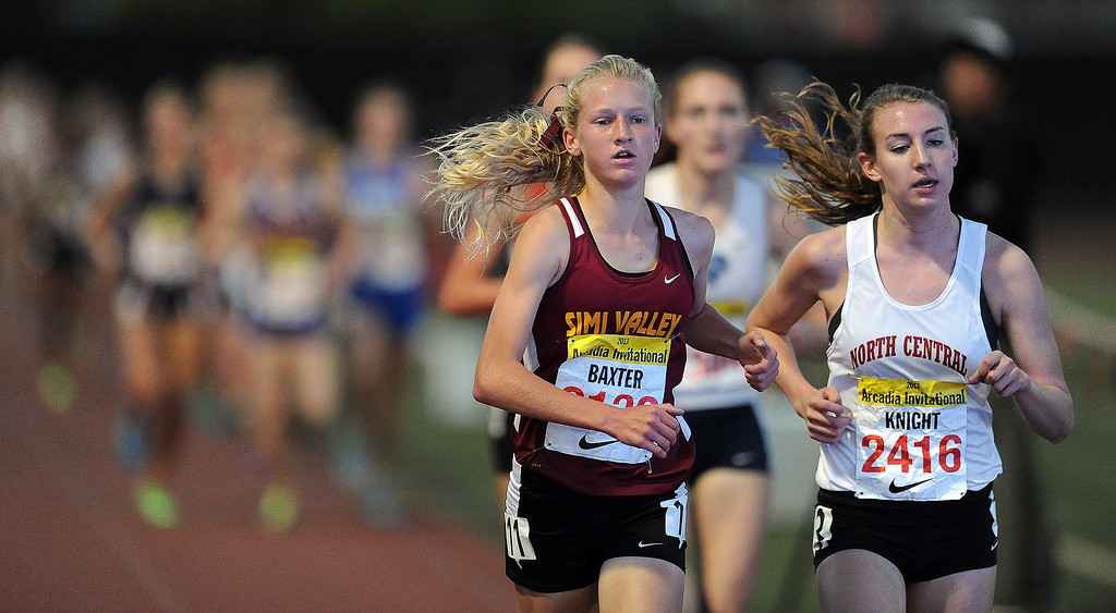 . Simi Valley\'s Sarah Baxter wins the 3200 meter run invitational during the Arcadia Invitational at Arcadia High School on Saturday, April 6, 2013 in Arcadia, Calif.  (Keith Birmingham Pasadena Star-News)
