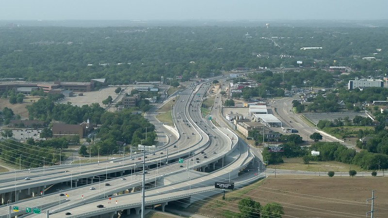 Aerial video highways Dallas Texas I30