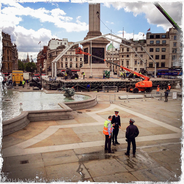 The Day after the Concert: The teardown (Trafalgar Square), May, 2014. Note Suz at the very right of the picture.