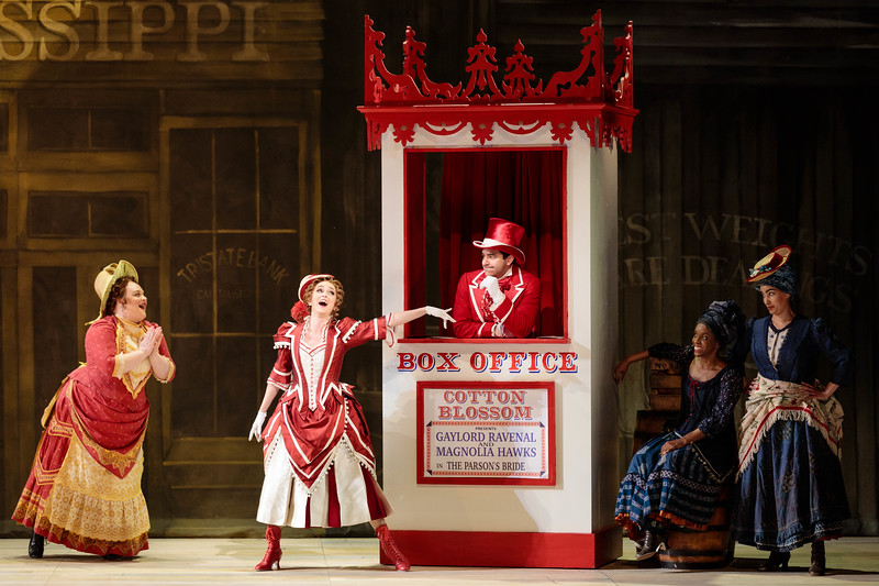 """(From left) Kayla Siembieda, Abigail Paschke as Ellie Mae Chipley Schyler Vargas as Frank Schultz, Danielle Jackman and Mia Athey in The Glimmerglass Festival's 2019 production of """"Show Boat."""" Photo Credit: Karli Cadel/The Glimmerglass Festival"""