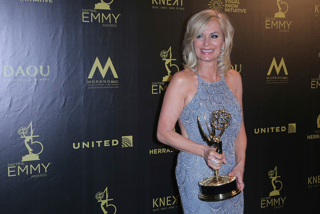 ". Eileen Davidson poses in the press room with the award for outstanding lead actress in a drama series for ""The Young and the Restless\"" at the 45th annual Daytime Emmy Awards at the Pasadena Civic Center on Sunday, April 29, 2018, in Pasadena, Calif. (Photo by Willy Sanjuan/Invision/AP)"