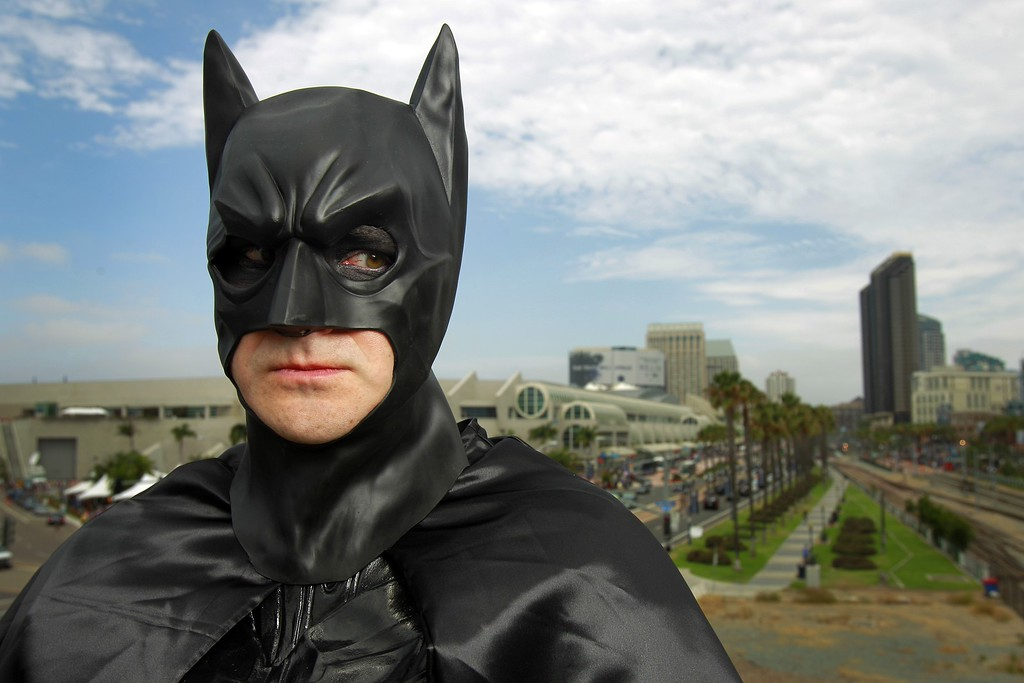 . Ted Rotunda poses for a photo dressed as Batman, at Comic-Con, Friday, July 19, 2013, in San Diego. (AP Photo/U-T San Diego, K.C. Alfred)