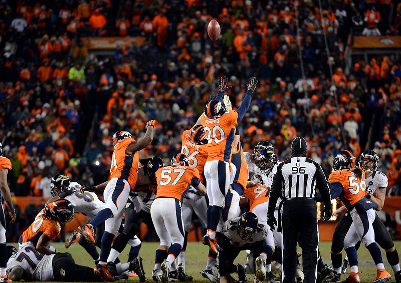 . The winning field goal is kicked in overtime putting the Baltimore Ravens at 38 to the Denver Broncos 35. The Denver Broncos vs Baltimore Ravens AFC Divisional playoff game at Sports Authority Field Saturday January 12, 2013. (Photo by John Leyba,/The Denver Post)