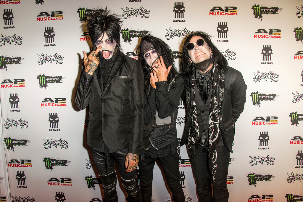 . Nikki Misery, from left, Jeremy Valentyne and Nick Rossi of New Years Day seen at 2017 Alternative Press Music Awards at the KeyBank State Theatre on Monday, July 17, 2017, in Cleveland. (Photo by Amy Harris/Invision/AP)
