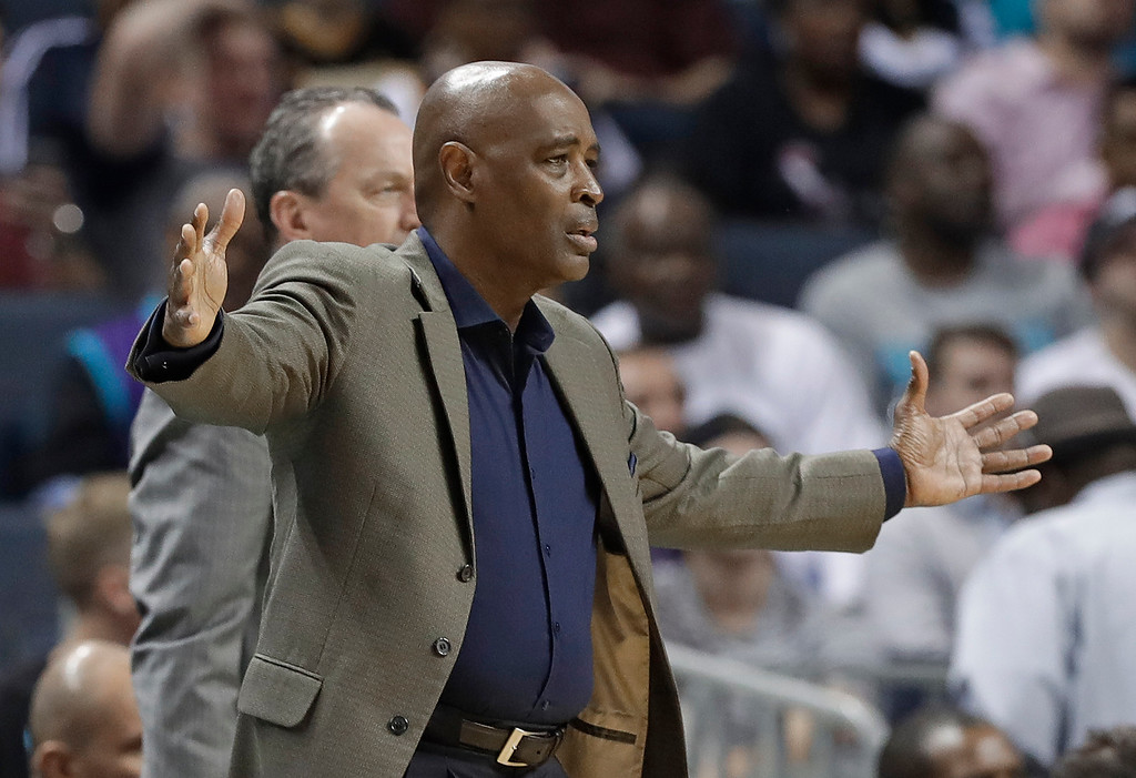 . Cleveland Cavaliers associate head coach Larry Drew reacts to a call during the second half of the team\'s NBA basketball game against the Charlotte Hornets in Charlotte, N.C., Wednesday, March 28, 2018. (AP Photo/Chuck Burton)