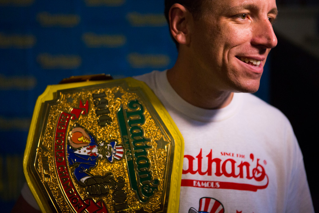 . The current world hot dog eating champion, Joey Chestnut speaks to the media after the Nathan\'s Famous Hotdog eating contest weight in on Monday, July 3, 2017, in Brooklyn, New York. Chestnut weight in at 220.5 and will be defending his title from Matt Stonie who has defeat Chestnut in the past. (AP Photo/Michael Noble)