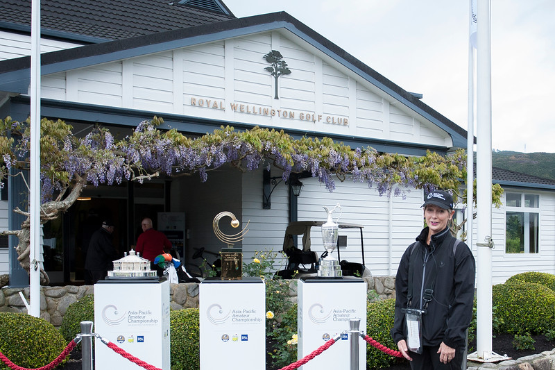 Susan Coppersmith with the Masters Trophy (L), the Asia-Pacific Trophy (M) and the Claret Jug (R) on the 1st day of competition in the Asia-Pacific Amateur Championship tournament 2017 held at Royal Wellington Golf Club, in Heretaunga, Upper Hutt, New Zealand from 26 - 29 October 2017. Copyright John Mathews 2017.   www.megasportmedia.co.nz