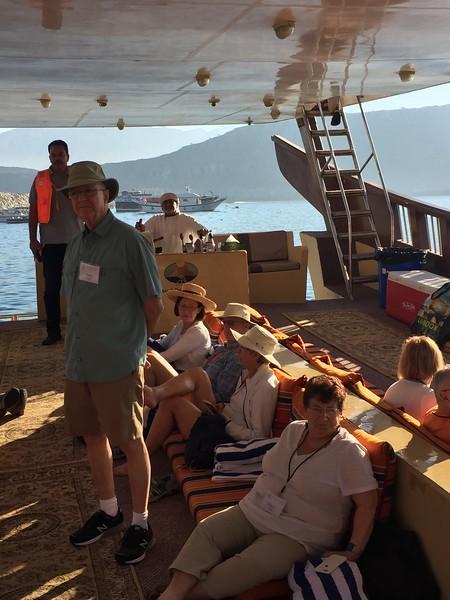 Gulf States travelers aboard a dhow on Oman's Musandam Peninsula - Bridget St. Clair
