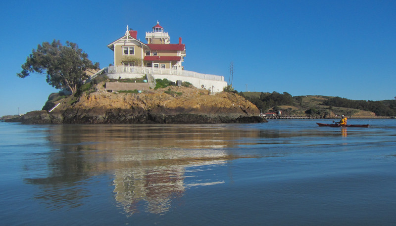 Opened in 1874, the lighthouse was built after blasting the top off this rock island in San Pablo bay.  Still operated as a lighthouse, it's a B&B.