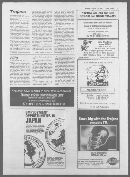 Daily Trojan, Vol. 105, No. 32, October 19, 1987