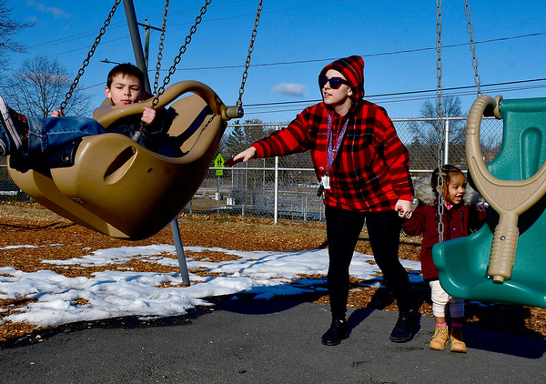 3/12/2019 Mike Orazzi | Staff Nicole LaFlame while in Bristol Page Park with Mason Genovese and Lialian Perez on Tuesday afternoon.