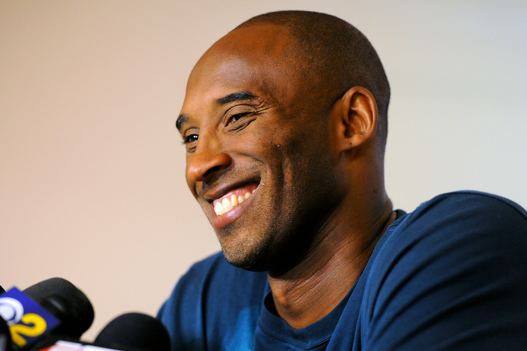 . Kobe Bryant answers questions about his basketball camp, the state of the Lakers and the free agency action during a press conference before the Kobe Basketball Academy at UCSB, Wednesday, July 9, 2014. (Photo by Michael Owen Baker/Los Angeles Daily News)