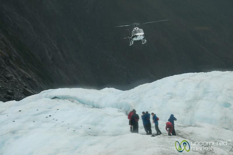 Helicopter Landing at Franz Josef Glacier - South Island, New Zealand