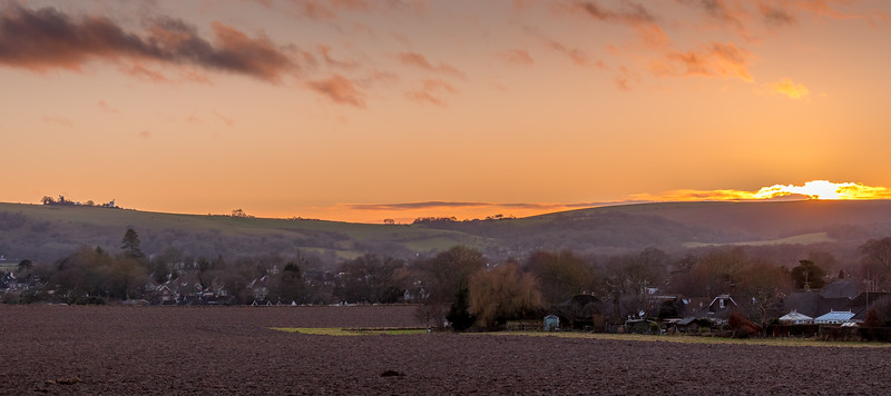 Sun sets on the South Downs on New Year's Day
