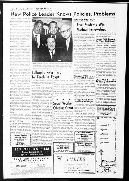 Summer Trojan, Vol. 11, No. 3, June 29, 1961