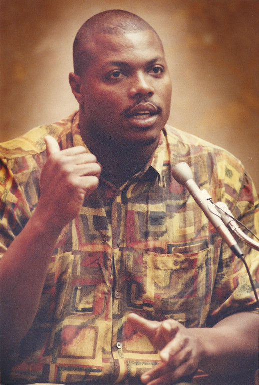 . Former Detroit Lions player Reggie Rogers testifies in Oakland County Circuit Court in July 1994. The Oakland Press/file photo