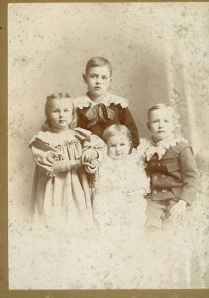 """Perry Winfield Dew (1891-1975), Byron Elmer Dew (1893-1986),Mary Lavinna Dew (1895-1992), Josie Louisa Dew (1897-1999) Written in the Rogers Reunion Photo Album Volume III page 17 under the photo """" Age 8 Perry Winfield Dew b. Sept 12, 1891, Age 6 Byron Elmer Dew b. Aug 6, 1893, Age 4 Mary Lavina (sic) Dew b. Aug 20,1895, Age 2 Josie Louisa Dew b July 7, 1897 Photo about 1899 or 1900"""""""