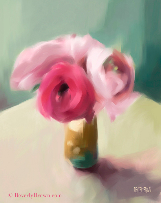 Lush pink ranunculus blooms in a ceramic cup, surrounded by soft teal, pale yellow and violet. This is a digital iPad painting made with the Pro Create app. Copyright Beverly Brown. This and other floral art prints are for sale in multiple sizes with custom framing options at www.beverlybrown.com.