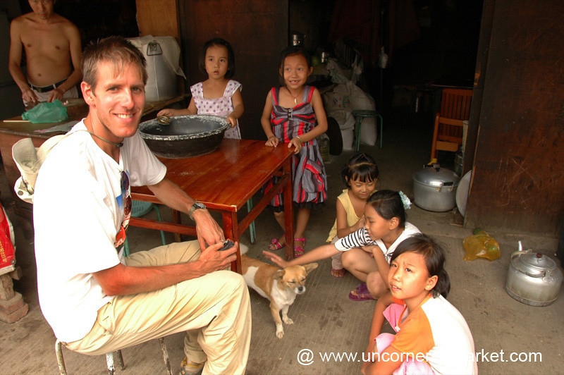 Dan with Chinese Kids - Xishuangbanna, China