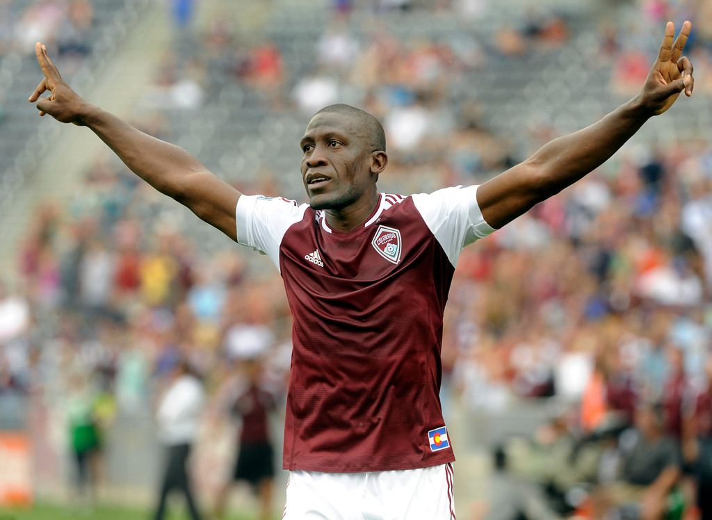 . COMMERCE CITY, CO. - JULY 27:  Rapids midfielder Hendry Thomas celebrated his first half goal Saturday. The Colorado Rapids defeated the Los Angeles Galaxy 2-0 Saturday, July 27, 2013.  Photo By Karl Gehring/The Denver Post