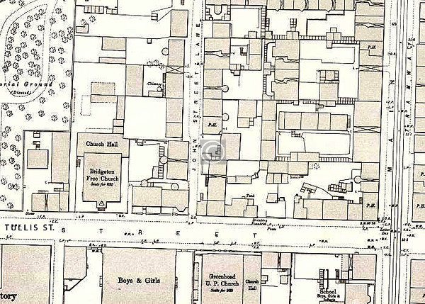 1892 map of the area. Might be in there somewhere.