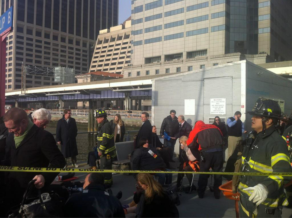 Description of . Injured passengers of the Seastreak Wall Street ferry are treated after the ferry made a hard landing as it pulled in Manhattan around 8:45 a.m. Wednesday. Julie Westfall/Digital First Media