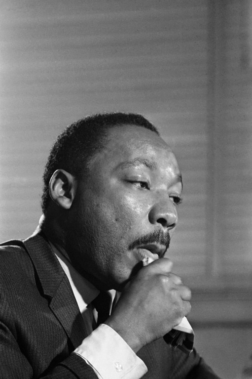 . Dr. Martin Luther King ponders a question from a newsman in Atlanta, Monday, Dec. 4, 1967 after he said that he would lead a �wave of the nation�s poor�, to Washington, D.C. this next spring to demand, �jobs or income for all.� (AP Photo)