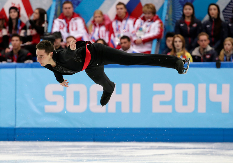 . Matthew Parr of Britain competes in the men\'s team short program figure skating competition at the Iceberg Skating Palace during the 2014 Winter Olympics, Thursday, Feb. 6, 2014, in Sochi, Russia. (AP Photo/Bernat Armangue)