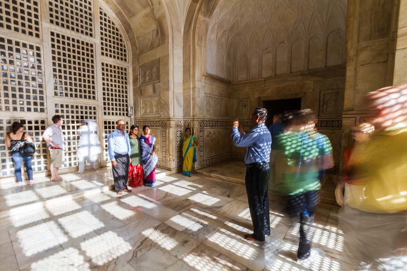 Tourists Taking Pictures Inside Taj Mahal With Motion Blur, Agra, India, Asia