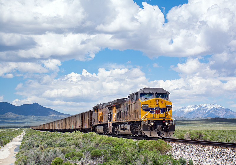 June 5, 2019.  Shafter, NV.  A westbound coal train approaches Shafter on the former WP across eastern Nevada.