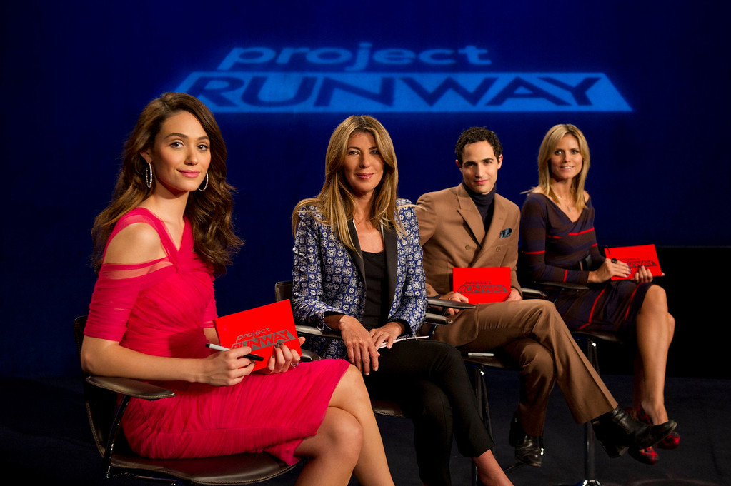 . Project Runway (L to R) Guest judge Emmy Rossum, Nina Garcia, Zac Posen and Heidi Klum judge Project Runway season 11, premiering Thursday, January 24, at 9pm ET/PT on Lifetime. Photo by Barbara Nitke Copyright 2012