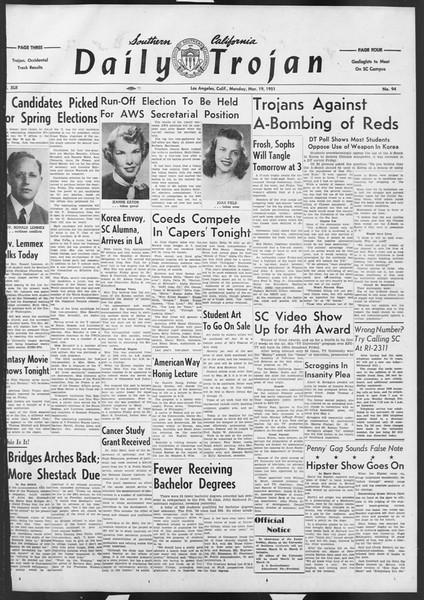 Daily Trojan, Vol. 42, No. 94, March 19, 1951