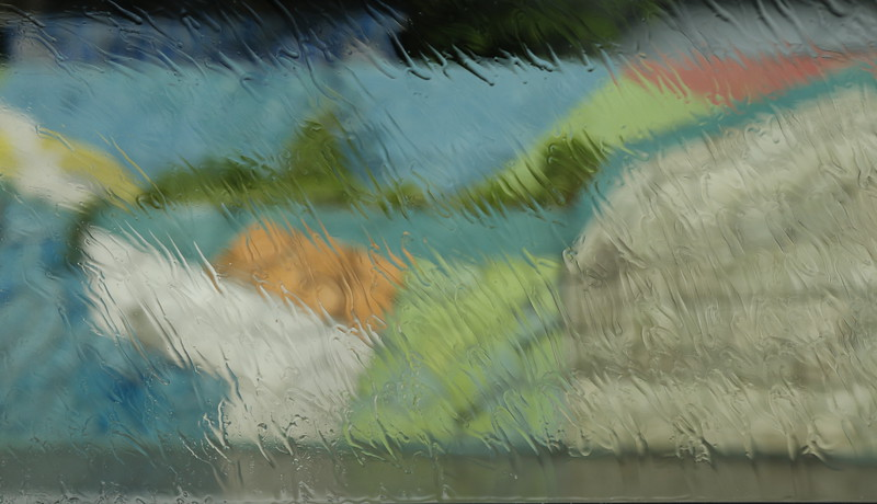 Mural though side window while raining - # 4