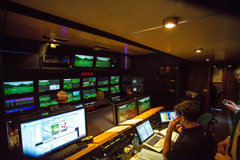 Inside one of three similar rooms that form part of  the Sky  TV communications centre on the final day of the Asia-Pacific Amateur Championship tournament 2017 held at Royal Wellington Golf Club, in Heretaunga, Upper Hutt, New Zealand from 26 - 29 October 2017. Copyright John Mathews 2017.   www.megasportmedia.co.nz