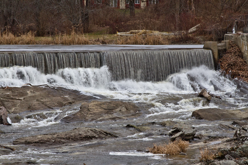 water flowing over dam in the Royal River, Yarmouth, Maine