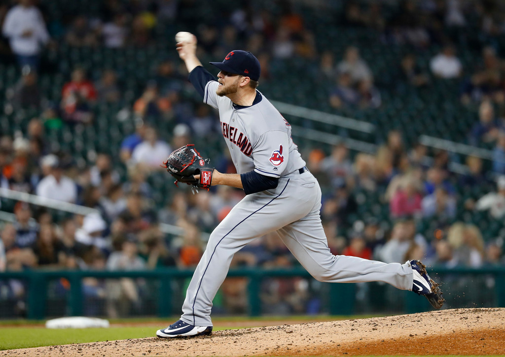 . Cleveland Indians relief pitcher Evan Marshall throws against the Detroit Tigers in the seventh inning of a baseball game in Detroit, Monday, May 14, 2018. (AP Photo/Paul Sancya)