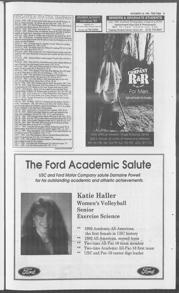 Daily Trojan, Vol. 121, No. 56, November 18, 1993