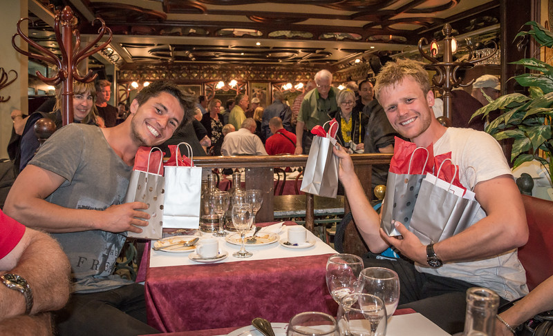 Tour guides Remo and Tom with thank-you gifts