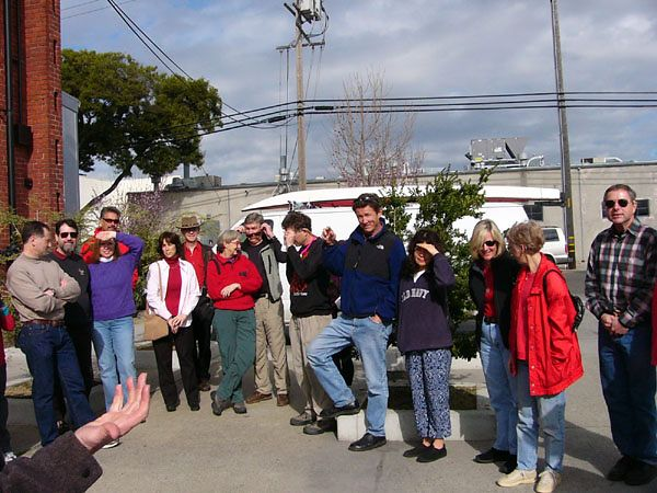 Our 30-person group cues up in front of the factory, ready for a tour, and a taste..