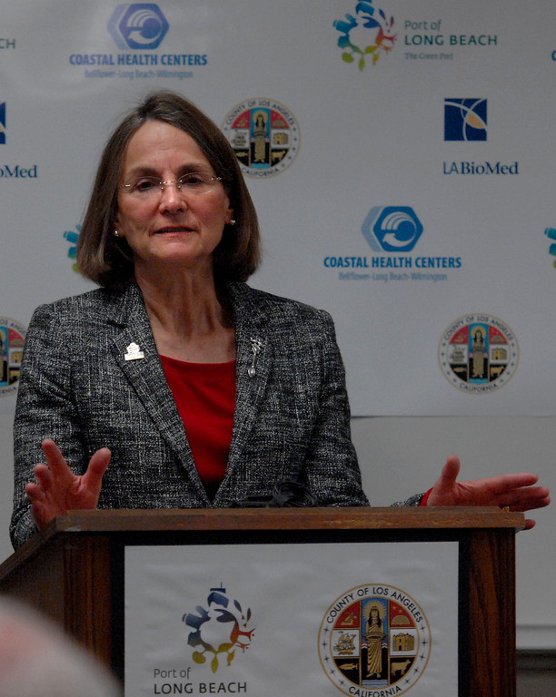. 2/14/13 - JHarbor Commission President Susan E. Anderson Wise speaks at the grand-opening of the new cardiopulmonary lab at the Long Beach Comprehensive Health Center.  The new lab was funded by more than $6000,000 grant from the Port of Long Beach Community Mitigation Grant Program.  According to Associate Medical Director Dr. Tyler Seto this will allow community members to have tests done within weeks instead of up to six months using other labs. Photo by Brittany Murray / Staff Photographer