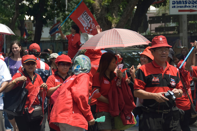 Female protesters taking part in Red Shirt Protest in Thailand
