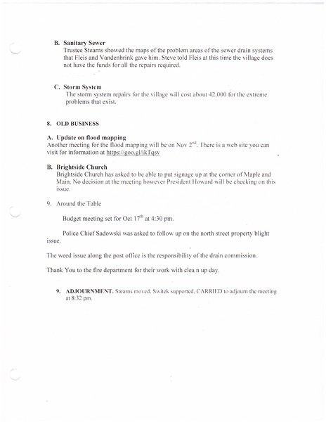 Oct 2016 Meeting Minutes